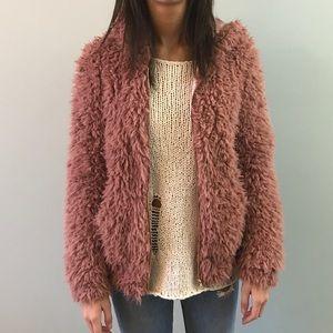 pink teddy bomber jacket